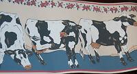 Cow Cattle Floral Farm Wallpaper Border [W1260]