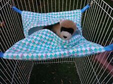 Ferret Hideaway Hammock - Teal & White Checkerboard with Colorful Numbers