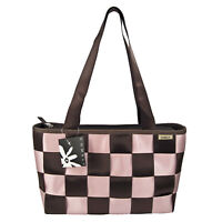 Adult SEATBELT Checkered PURSE Hand Bag Tote PINK GIFT CHOCOLATE BROWN Medium