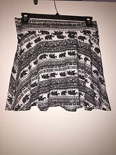 Full Tilt - Juniors skirt - Black and white with elephants - size small
