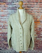 Vintage oatmeal hand cable aran knit cardigan collar rustic retro blogger 16