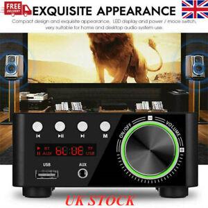 Mini Bluetooth Stereo Audio Amplifier Car Home HiFi Music USB AUX FM Mic UK