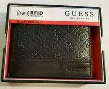 GUESS Men's Bifold Black Wallet Valet RFID Blocking NEW MSRP $42 Front Pocket