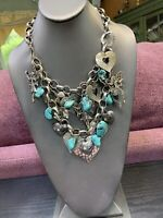 Bohemian Turquoise Stone Hearts fairies rhinestone charm Statement WOW necklace