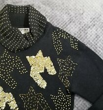 Vintage Western Connection Black Gold Occasion Holiday Beaded Ramie Sweater Sz M