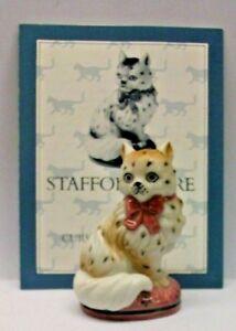 A FRANKLIN MINT CURIO CABINET CAT COLLECTION FIGURINE THE -STAFFORDSHIRE-+ CERTI