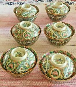 6 Chinese Export Rose Medallion Covered Cups