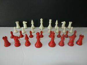Vintage 1950s Plastic Red & White Chess Set