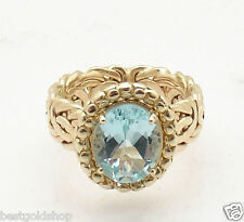 QVC Size 8 Genuine Natural London Blue Topaz Byzantine Ring Real 14K Yellow Gold