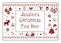 A4 Personalised Christmas Eve Red Snowflake Box Sticker Label Gift Present