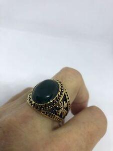 Gold Plated Stainless Steel Genuine Green Chrysoprase Cross 10.25 Men's Ring