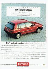 Publicité Advertising   077  1989  Toyota  la Corolla Hatchback