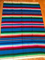 "Vintage Mexican Saltillo Serape Wool Blanket Rug Wall Hanging Colorful 82"" x 58"""