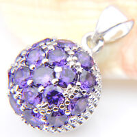 Christmas Natural Shiny Purple Amethyst Gemstone Silver Necklace Pendant 1 ""
