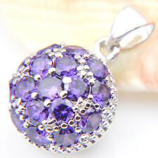 Christmas Natural Shiny Purple Amethyst Gemstone Silver Necklace Pendant 1 5/8 ""