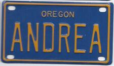 ANDREA Blue Oregon - Mini License Plate - Name Tag - Bicycle Plate!