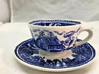 Vintage Demitress Colonial Blue Arabia #9 Teacup and Saucer, Made in Finland