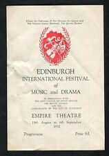 Programme: Edinburgh Festival of Music & Drama 1952