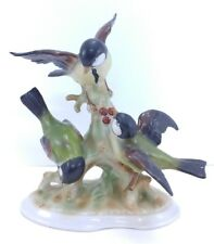 "VINTAGE 7.25"" BOCK WALLENDORF PORCELAIN BIRDS THREE BIRD FIGURINE 17411 GERMANY"