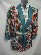BNWT Womens Sz 10 Undercoverwear Multi Colour Tie Front Tunic Top + Cami RRP $69