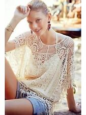 Angel Of The North Anthropologie Ivory Pullover Crochet Fringe Top XS/S NWOT