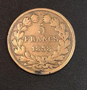 COPPER BRASS Contemporary 5 Francs 1838 !! Better Grade! INTERESTING Piece!