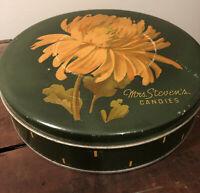 "Vintage 9"" Mrs. Steven's Candies Tin"