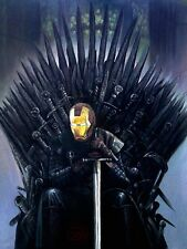 "Superbe rare original Zen O'CONOR ""iron man"" trône de fer série peinture à l'huile"