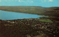 Postcard Air View of Seneca Lake and Watkins Glen New York