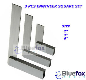"Engineer Set 2"" 4"" 6"" Machinist Square 90º 3 pc Right Angle Bluefox"