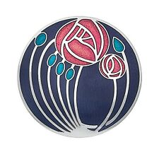 Mackintosh Brooch Roses and Buds Silver Purple Plated Brand New Gift Packaging