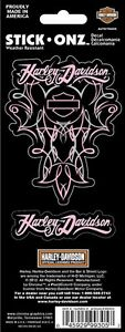 Harley Davidson bike motorcycle decal sticker silhouette script pink womens bar