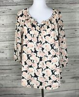 Apt. 9 Women's Pink / Black / White Floral 3/4 Sleeve Tunic Top / Blouse Size L