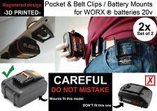 2x Battery mounts WORX 20v support bracket Shelf Rack Stand belt mount wall