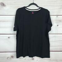 Isaac Mizrahi Live Essentials Women 1X Crew Neck Pima Cotton Tee Shirt Black Top