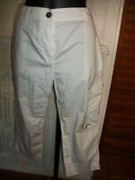 Pantalon court pantacourt  coton blanc transparent CAROLL 42 brodé fleurs n20