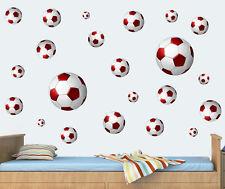 RED palloni di calcio pacco da 22 Muro ARTE Vinile Adesivi Decalcomanie Murales FC UTD BALL