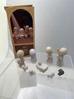 Vtg 1979 Precious Moments 9 piece Porcelain Bisque Nativity Set E-2800 Enesco