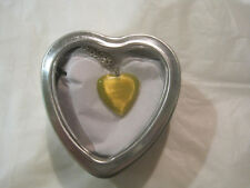 """Yellow Cats Eye Solid Heart 18"""" Silver Necklace w/Heart Box~Free Ship~LBDLB"""