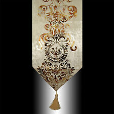 NEW LUXURY SHINY BEIGE VELVET DAMASK DECO TASSELS WEDDING BED TABLE RUNNER CLOTH