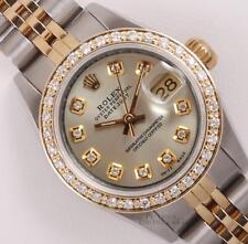 Rolex Lady Datejust 26mm Two Tone 18k Watch-Silver Diamond Dial-Diamond Bezel