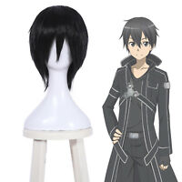 Kirito Lelouch Sebastian Michaelis Men Anime Short Black Straight Cosplay Wig