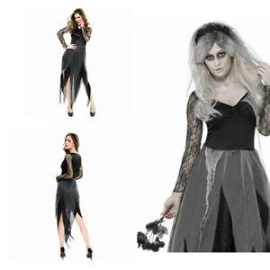 Zombie Corpse Bride Costume Halloween Ladies Widow Graveyard Fancy Dress Womens