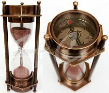 5 DECORATIVE BRASS SAND TIMER HOURGLASS WITH ANTIQUE MARITIME COMPASS