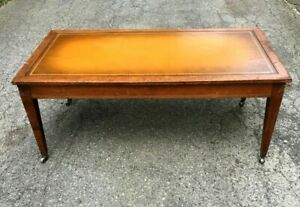 AntiqueMahogany Leather Top Rolling Coffee Table