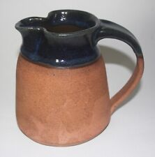 Art Pottery 1982 Pinched Spout Handmade Clay Blue Half Glazed Pitcher Signed