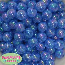 16mm Royal Acrylic Crackle Bubblegum Beads Lot 20 pc.chunky gumball