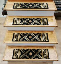 "Black Wool Stair Tread Set of 13 Non Slip Carpet Treads 26"" x 7.5"" Rug Depot"