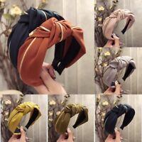Women Headband Twist Bow Knot Cross Tie Wide Head Wrap Hairband Hoop-RO