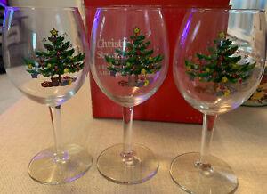 3 Vintage NIKKO Christmas  11 Oz Goblets Stemware Wine Glasses